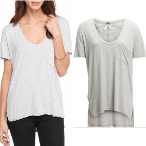Free People Rising Sun V-Neck Oversized Tee Shirt